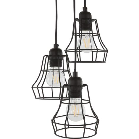 3 Light Metal Pendant Lamp Black PECWAN