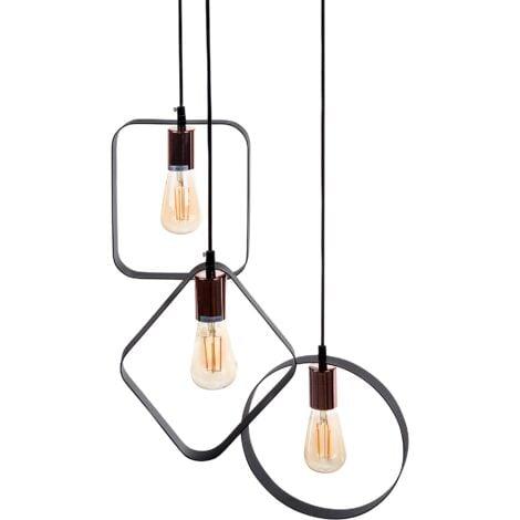 3 Light Metal Pendant Lamp Black VOMANO