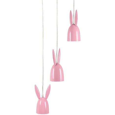 3 Light Metal Pendant Lamp Pink RABBIT