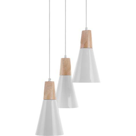 3 Light Metal Pendant Lamp White TICINO