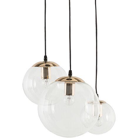 3 Light Pendant Lamp Clear Glass LADON