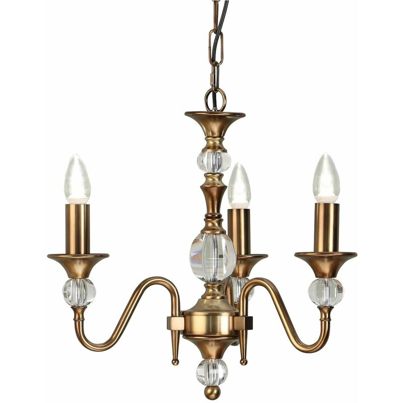 Image of 3-light pendant lamp Polina, antique brass and crystal