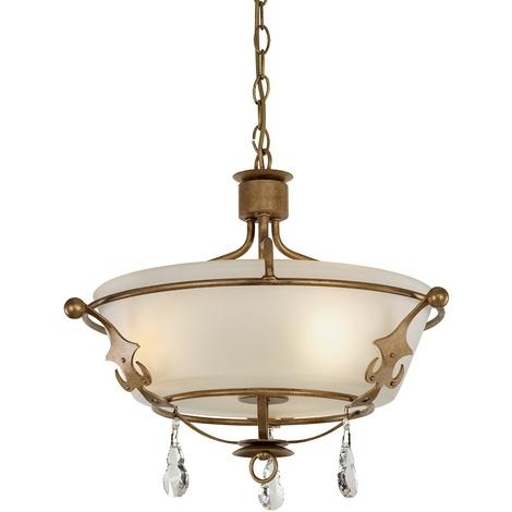 3 Light Semi Flush Pendant In Gold Patina