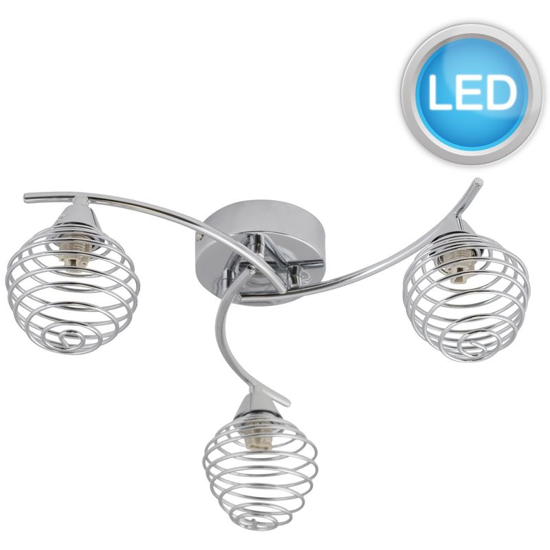 Image of 3 Light Swirl Twist Fitting with Metal Spiral Shades with LED Bulbs - FIRST CHOICE LIGHTING
