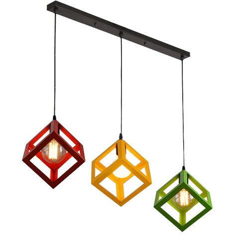 3 Lights 3 Color Adjustable Cube Lamp Creative Hanging Light Colorful Industrial Pendant Lamp Chandelier Fixture for Kitchen Farmhouse Hallway Indoor(Red+Yellow+Green)