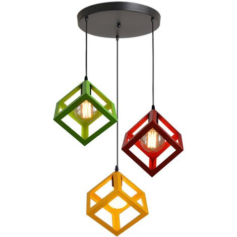 3 Lights Adjustable Cube Lamp Vintage Hanging Light Colorful Industrial Pendant Lamp Creative 3 Color Chandelier Fixture for Kitchen Farmhouse Hallway Indoor(Red+Yellow+Green)