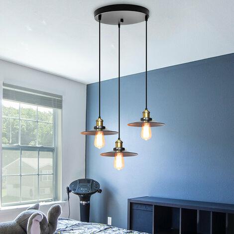 3 Lights Industrial Antique Metal Ceiling Lamp Ceiling Pendant Light, Hanging Light E27 60W for Living Dining Room Bar Cafeteria Restaurant(Black)