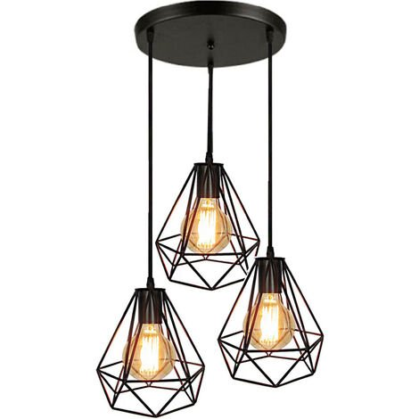 3 Lights Industrial Pendant Light Adjustable Diamond Ceiling Light Retro Chandelier for Living Room Dining Room Bar Balcony Black