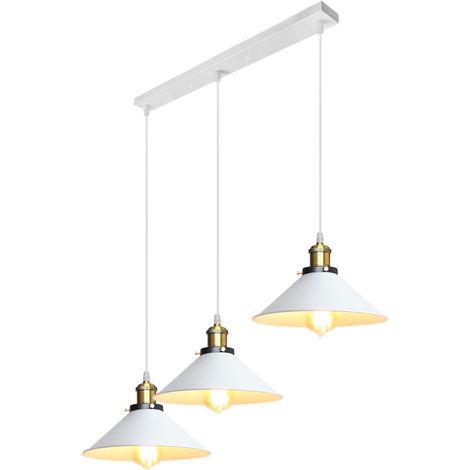3 Lights Industrial Pendant Light Retro Creative Chandelier Adjustable Ceiling Light for Living Room Dining Room Bar Balcony White