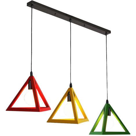 3 Luces Vintage luz Colgante Triángulo Jaula Colorida Lámpara Colgante Industrial Creativo 3 Colores Araña para Cocina Granja Pasillo Interior Rojo + Amarillo + Verde