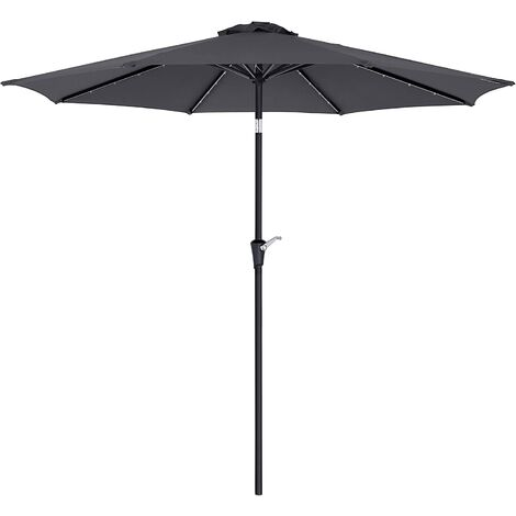 3 m Garden Parasol Umbrella with Solar-Powered LED Lights, Sunshade with UPF 50+ Protection, Tilting, Crank Handle for Opening Closing, Base Not Included, Taupe/Grey