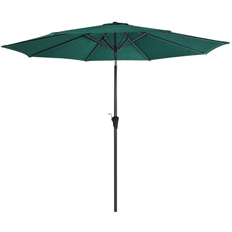 3 m Parasol Umbrella, Sun Shade, Octagonal Polyester Canopy, with Tilt and Crank Mechanism, for Outdoor Gardens, Balcony and Patio, Base Not Included, Green GPU30GN - Green