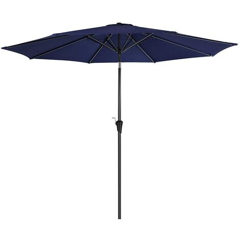 3 m Parasol Umbrella, Sun Shade, Octagonal Polyester Canopy, with Tilt and Crank Mechanism, for Outdoor Gardens, Balcony and Patio, Base Not Included, Navy Blue GPU30BU - Navy Blue