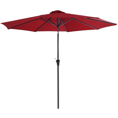 3 m Parasol Umbrella, Sun Shade, Octagonal Polyester Canopy, with Tilt and Crank Mechanism, for Outdoor Gardens, Balcony and Patio, Base Not Included, Red GPU30RD - Red