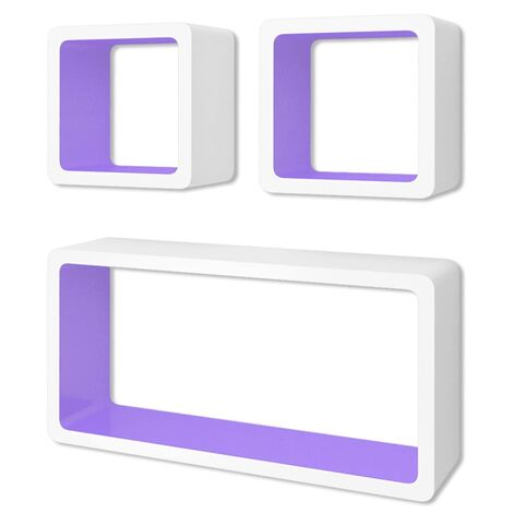 3 MDF Floating Wall Display Shelf Cubes Book/DVD Storage Cube Shelf Home Organiser Decorative Wall Storage Display Shelf Multi Colour