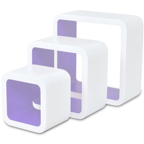 3 MDF Floating Wall Display Shelf Cubes Book/DVD Storage Home Indoor Living Room Storage Cube Shelves Organiser Decorative Wall Storage Display Shelves Multi Colour