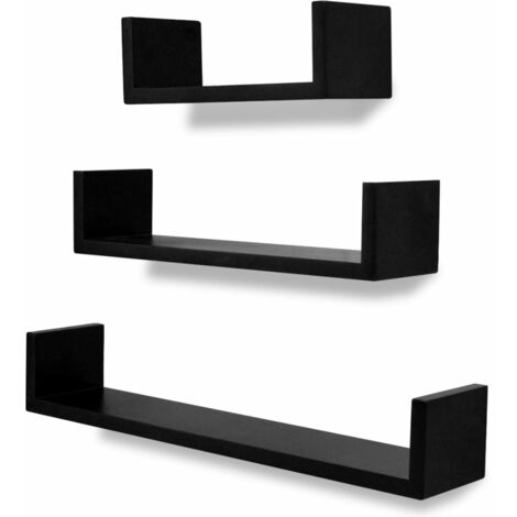 3 MDF U-shaped Floating Wall Display Shelves Book/DVD Storage Home Indoor Living Room Storage Cube Shelves Organiser Decorative Wall Storage Display Shelves Multi Colour