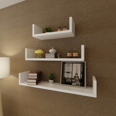 3 MDF U-shaped Floating Wall Display Shelves Book/DVD Storage Home Indoor Living Room Storage Cube Shelves Organiser Decorative Wall Storage Display Shelves Multi Colour