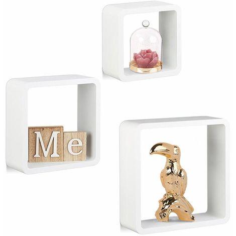 3 Mensole da Parete Moderne Design Cubo Smussato Mensola Scaffale Legno Bianco