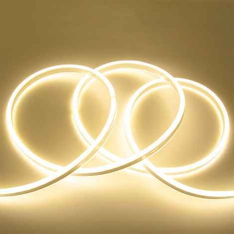 3 meter Plug and Play LED Neon Flex Kit (12V LED Neon Strip Kit, 3 Meters Silicon Neon Strip 6x12mm-120 LEDs/Mtr, 4 pcs Wall clips+5A Adapter) 4000K