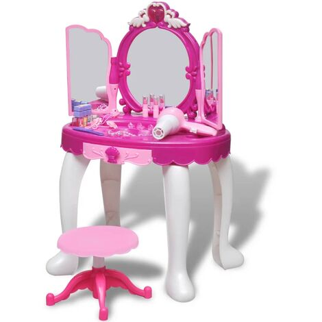 3-Mirror Kids' Playroom Standing Toy Vanity Table with Light/Sound - Pink