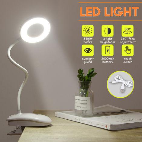 3 modos USB clip LED luz oficina lectura mesa libro regulable lámpara táctil 2000mAh