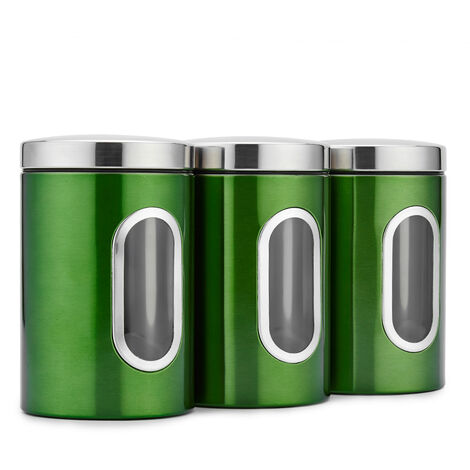 3 montato, serbatoio in acciaio inox, lattine sigillate, tre pezzi te granuli lattine caramelle caffe, verde