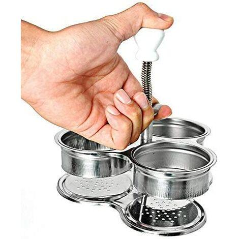 3 Œufs en Acier Inoxydable Gadgets de Cuisine Petit-déjeuner Créatif, Pocheuse à œufs Creative DIY Oeuf Chaudière d'écran Printemps Poignée de Levage
