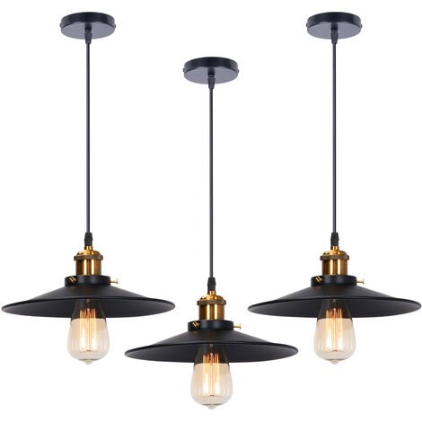 3 pack 26cm Industrial Retro Pendant Light Wrought Iron Ceiling Light for Dining Room Bedroom Hallway Stairs Black