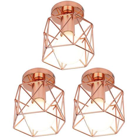 3 Pack Antique Retro Chandelier Rose Gold Creative Cube Shape Ceiling Light E27 Industrial Ceiling Lamp Metal Chandelier