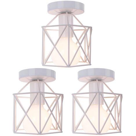 3 pack Antique Retro Chandelier White Creative Cube Shape Ceiling Light Industrial Ceiling Lamp Metal Chandelier E27