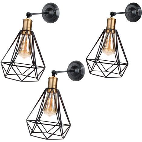3 pack Diamond Shape Wall Light Antique Industrial Black Ceiling Light Metal Iron Wall Light for Bedroom Bar Cafe