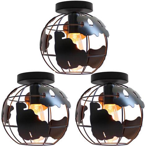 3 pack Globe Map Art Ceiling Light Industrial Vintage Chandelier Iron Metal Cage Pendant Light E27 for Home Restaurant Bedroom Office (Black)