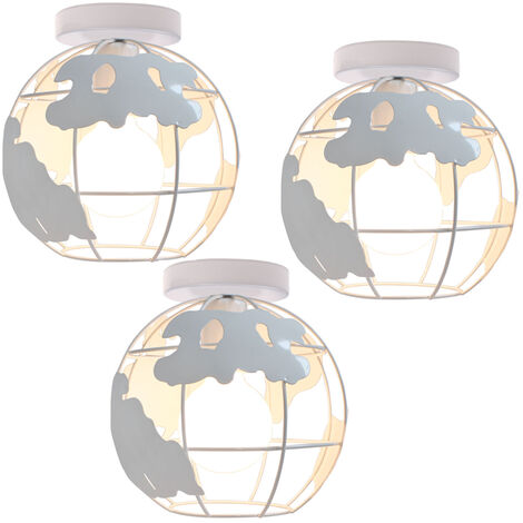 3 pack Globe Map Art Ceiling Light Industrial Vintage Chandelier Iron Metal Cage Pendant Light E27 for Home Restaurant Bedroom Office (White)