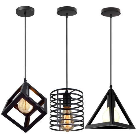 (3 Pack) Industrial Black Ceiling Light Creative Retro Pendant Light Metal Lampshade DIY Adjustable Chandelier for Indoor Loft Bar Kitchen Bedroom