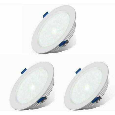 3 Pack LED Spots Encastrables Extra Plat Ultra-mince IP44 12W Blanc Chaud Spots de Plafond Lampe Plafonnier pour Salle de Bain Salon Cuisine Couloir [Classe énergétique A+]
