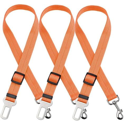 3 Pack Nylon Adjustable Dog and Cat Safety Straps for 19-32 Inch Car Seat Belt