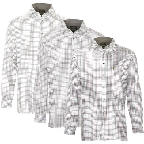 3 Pack Of Mens Champion Ayr Country Casual Tattersal Check Long Sleeved Shirt