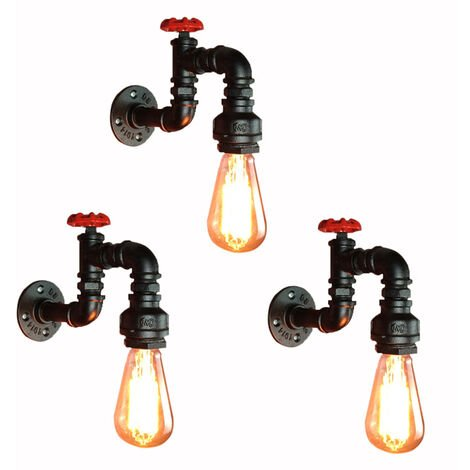 """main image of """"3 Pack Retro Industrial Wall Sconce Creative Tube Wall Lamp Pipe E27 Bedside Wall Light Vintage Wall Light"""""""