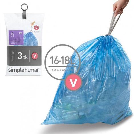 3 packs de 20 sacs poubelles de 16/18l - cw0269 - simplehuman