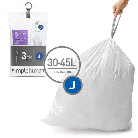3 packs de 20 sacs poubelles de 30/45l - cw0259 - simplehuman