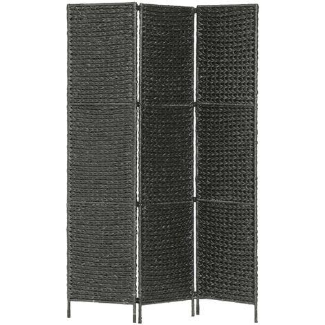 3-Panel Room Divider Black 116x160 cm Water Hyacinth