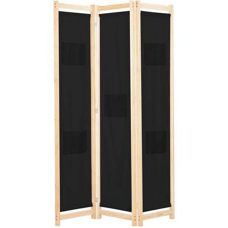 3-Panel Room Divider Black 120x170x4 cm Fabric