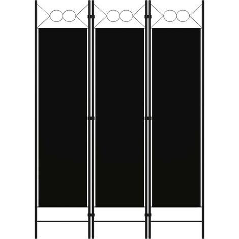 3-Panel Room Divider Black 120x180 cm