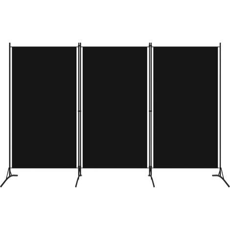 3-Panel Room Divider Black 260x180 cm