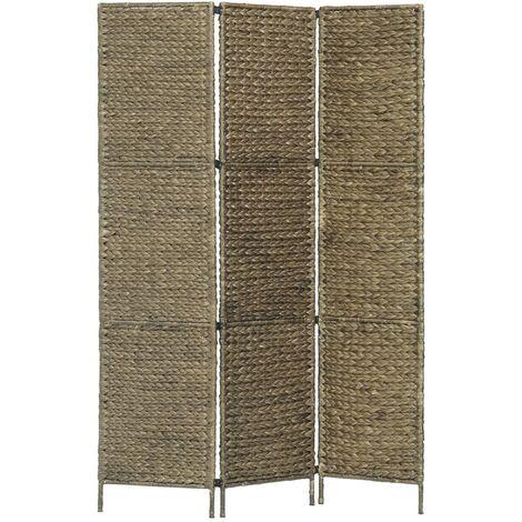 3-Panel Room Divider Brown 116x160 cm Water Hyacinth