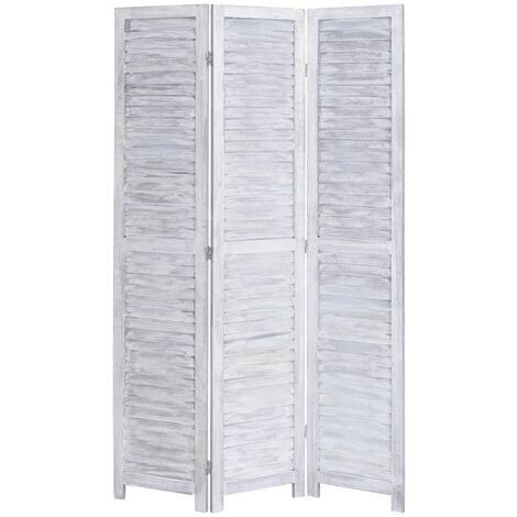 3-Panel Room Divider Grey 105x165 cm Wood