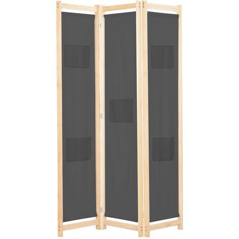 3-Panel Room Divider Grey 120x170x4 cm Fabric