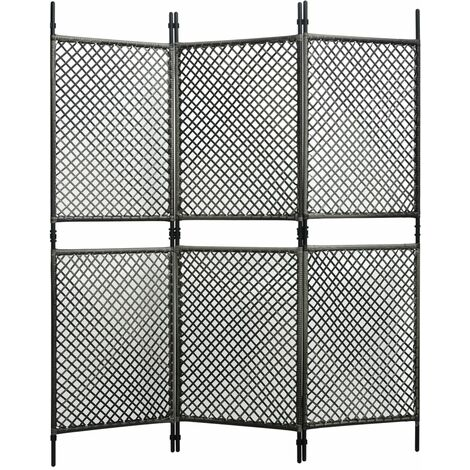 3-Panel Room Divider Poly Rattan Anthracite 180x200 cm