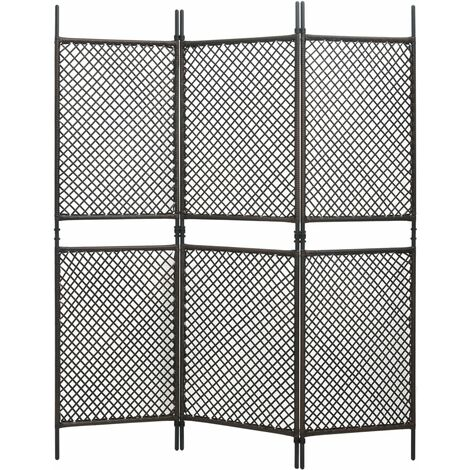 3-Panel Room Divider Poly Rattan Brown 180x200 cm